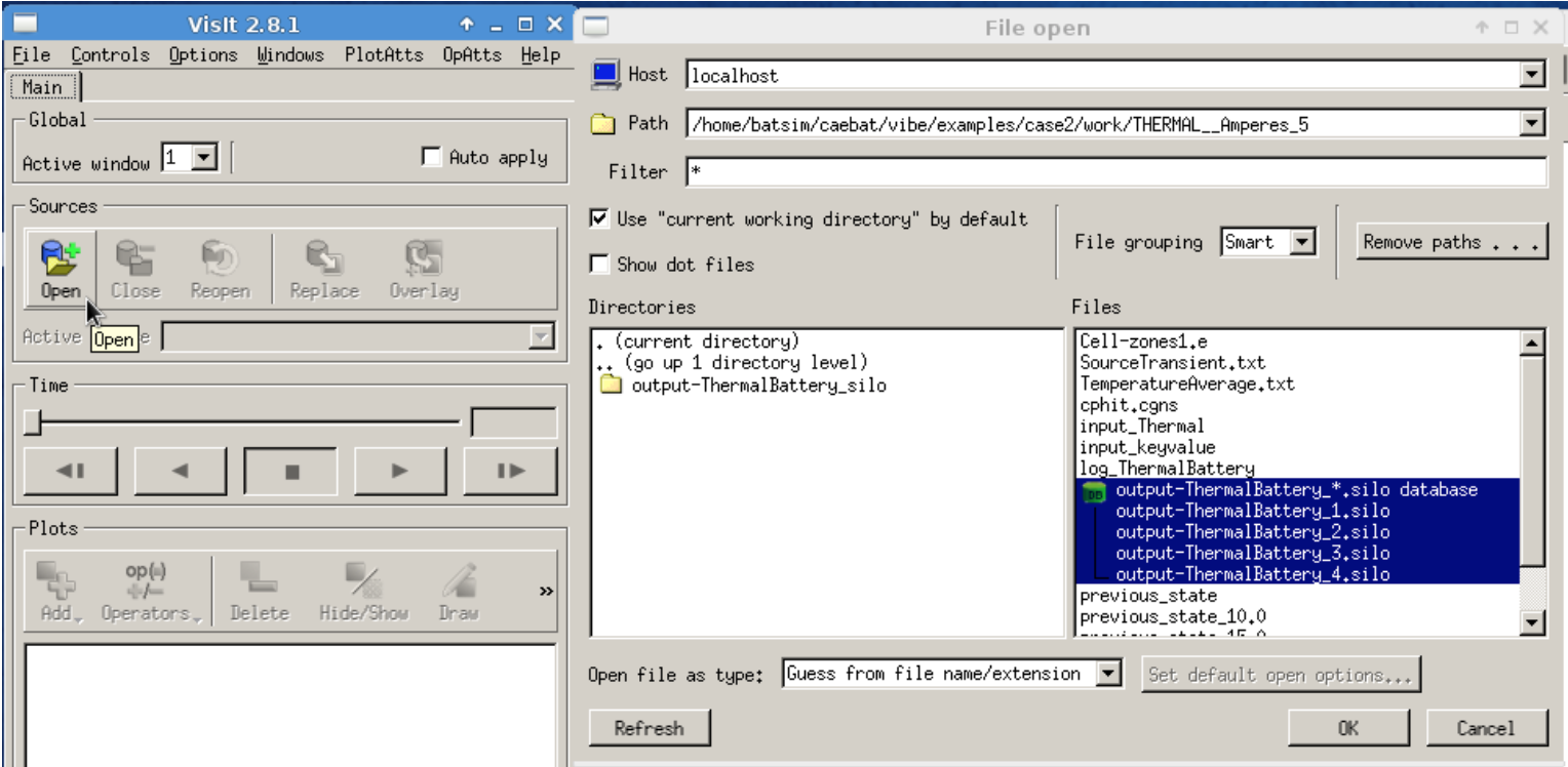 Figure 18: Selecting output files to visualize using VisIt in VM.